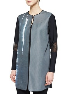 Elie Tahari Melody Mesh-Sleeve Coat  Melody Mesh-Sleeve Coat