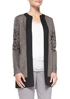Elie Tahari Melody Suede Cutout Coat