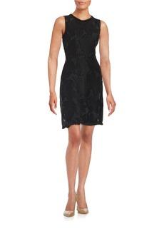 ELIE TAHARI Mesh-Accented Floral Sheath Dress