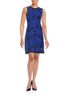 ELIE TAHARI Mesh-Accented Floral Sheath Dress