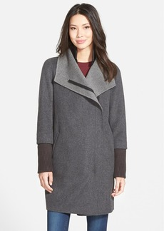 Elie Tahari 'Mika' Drape Collar Wool Blend Coat with Rib Knit Detail