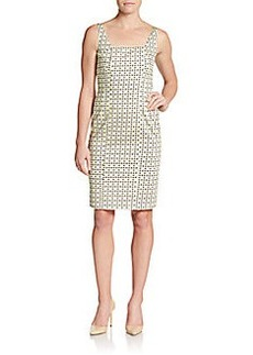 Elie Tahari Mila Leather & Knit Zip-Front Dress