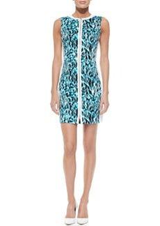 Elie Tahari Mila Printed Front-Zip Dress, Space Blue