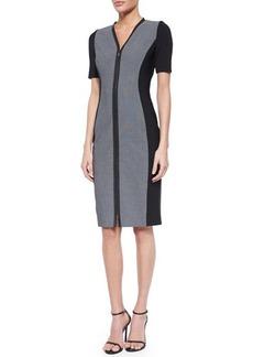 Elie Tahari Mila Short-Sleeve Zip-Front Sheath Dress  Mila Short-Sleeve Zip-Front Sheath Dress