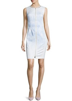 Elie Tahari Mila Sleeveless Zip-Front Sheath Dress  Mila Sleeveless Zip-Front Sheath Dress