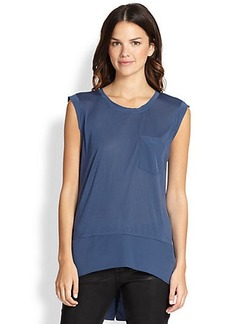 Elie Tahari Mildra Knit Silk-Trim Top