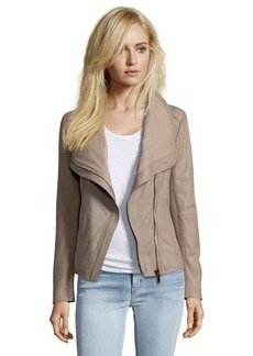 Elie Tahari mink suede asymmetrical zip front jacket