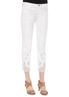 Elie Tahari Mona Eyelet-Hem Ankle Jeans  Mona Eyelet-Hem Ankle Jeans