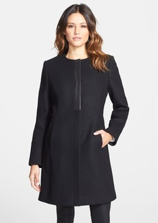 Elie Tahari 'Morocco' Collarless Wool Blend Coat with Leather Trim