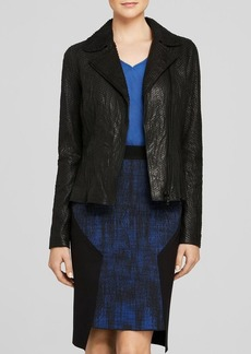 Elie Tahari Nancy Embossed Leather Jacket