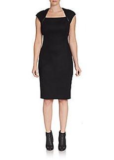 Elie Tahari Nancy Leather-Trim Sheath Dress