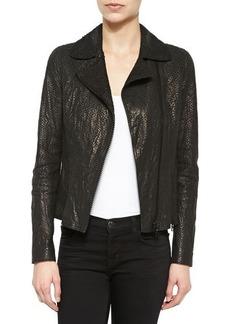 Elie Tahari Nancy Snake-Embossed Lambskin Leather Jacket  Nancy Snake-Embossed Lambskin Leather Jacket