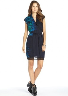 Elie Tahari navy silk woven faux wrap printed 'Cadence' cap sleeve dress