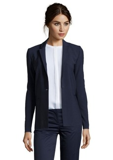 Elie Tahari navy stretch wool layered lapel single button jacket