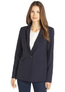 Elie Tahari navy stretch wool layered lapel single button jacket