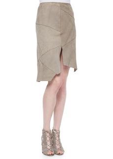 Elie Tahari Nicola Suede Skirt W/ Cutout Hem  Nicola Suede Skirt W/ Cutout Hem