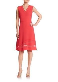 Elie Tahari Norina Mesh Inset Crepe Dress