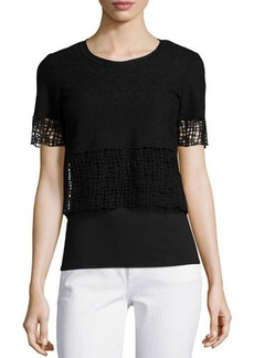 Elie Tahari North Cropped Blouse W/ Lace Trim  North Cropped Blouse W/ Lace Trim
