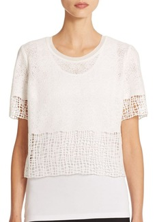 Elie Tahari North Lace Layered Cropped Top