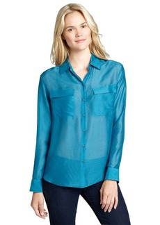 Elie Tahari ocean depths sheer button-front 'Bella' blouse