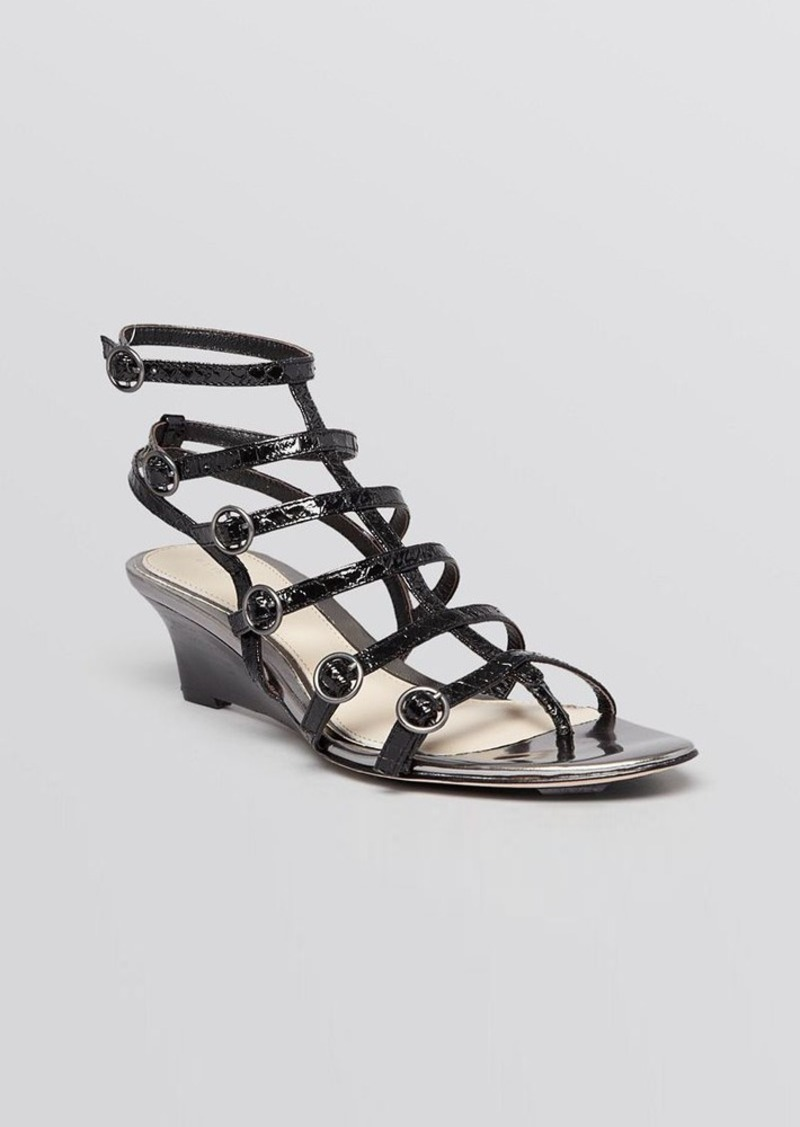 Elie Tahari Open Toe Gladiator Wedge Sandals - Troy