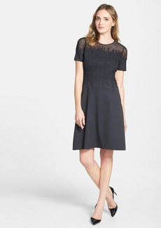 Elie Tahari 'Ophelia' Illusion Yoke Fit & Flare Dress