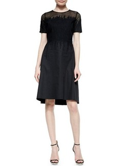 Elie Tahari Ophelia Short-Sleeve Mesh-Top Dress