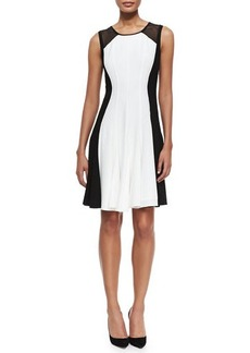Elie Tahari Pattie Sleeveless Flared Colorblocked Dress