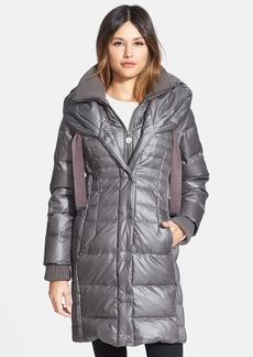 Elie Tahari 'Paula' Knit Trim Hooded Down Coat