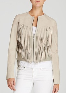 Elie Tahari Paulina Fringe Leather Jacket