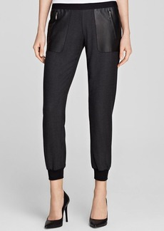 Elie Tahari Paulina Leather Panel Skinny Jogger Pants - Bloomingdale's Exclusive