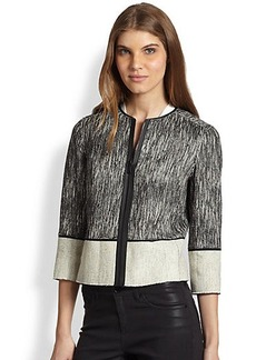 Elie Tahari Paulina Tweed Combo Jacket