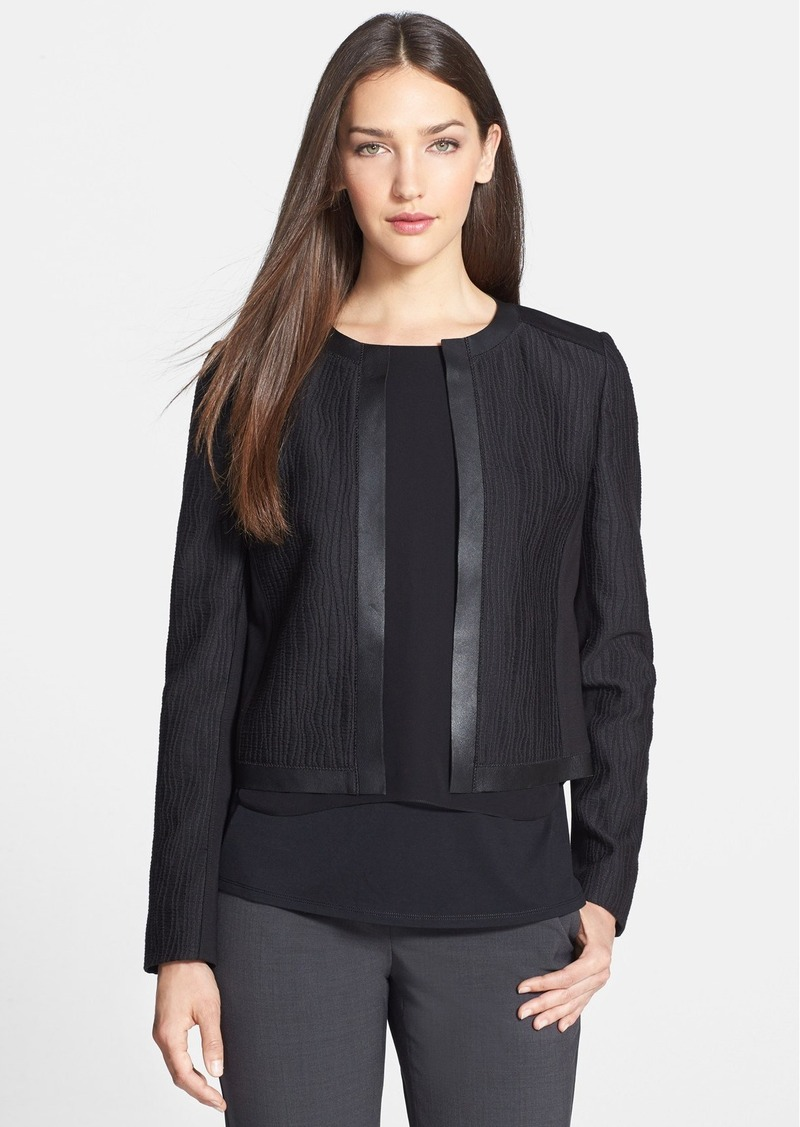 Elie Tahari 'Pearson' Leather Trim Jacquard Jacket