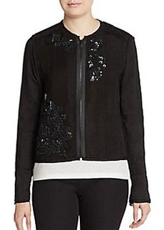 Elie Tahari Pearson Sequined Raw-Edge Jacket