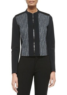 Elie Tahari Pearson Zip-Front Mixed Media Jacket