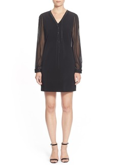 Elie Tahari 'Pencey' V-Neck Crepe & Chiffon Dress