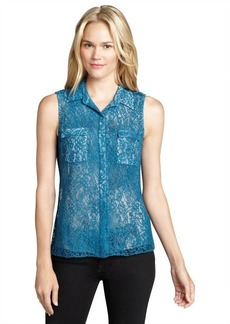 Elie Tahari placid blue semi-sheer button-front 'Bella' blouse