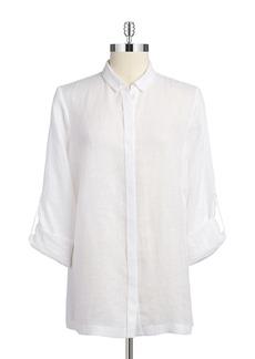 ELIE TAHARI Pleated Button-Down Shirt