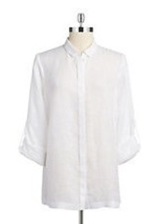 ELIE TAHARI Pleated Button-Down Shirt