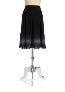 ELIE TAHARI Pleated Wool-Blend Skirt