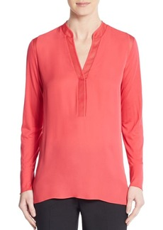 Elie Tahari Polly Mesh Trimmed-Silk Blouse