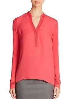 Elie Tahari Polly Silk Mesh-Trimmed Blouse