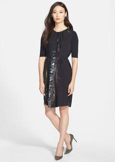 Elie Tahari Print Tie Waist Dress