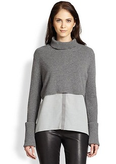 Elie Tahari Raleigh Blouse-Detail Cashmere Sweater