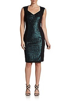 Elie Tahari Reba Sequin-Front Dress