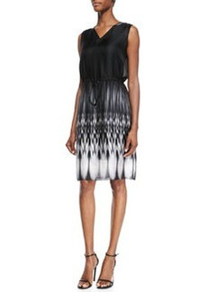 Elie Tahari Rema Sleeveless Ombre Ikat-Print Dress