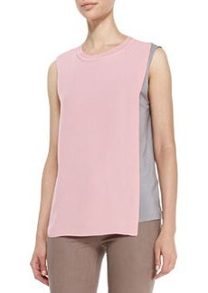 Elie Tahari Renee Sleeveless Two-Tone Blouse