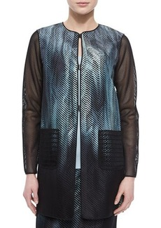 Elie Tahari Reversible Melody Mesh-Sleeve Jacket