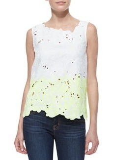 Elie Tahari Roony Outlined Cotton Lace Top