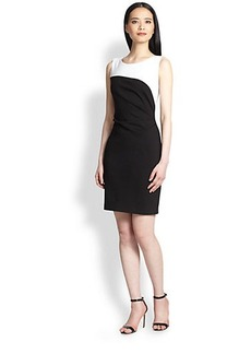 Elie Tahari Ruched Bicolor Sheath